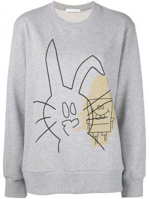 Толстовка с принтом кролика и Спанч Боба Peter Jensen. Цвет: серый