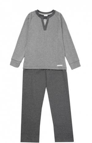 Хлопковая пижама Grigioperla. Цвет: серый