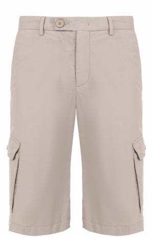 Хлопковые шорты с накладными карманами Z Zegna. Цвет: бежевый