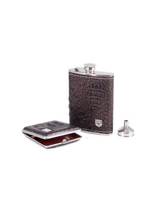 Подарочный набор: фляжка, воронка, портсигар Viron. Цвет: темно-коричневый