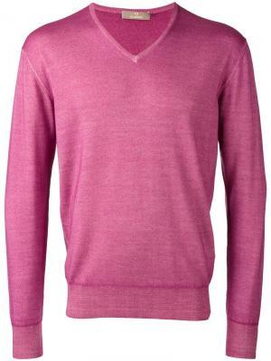 Джемпер с V-образным вырезом Cruciani. Цвет: розовый и фиолетовый