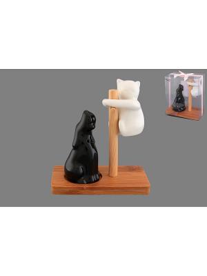 Набор для специй Кошка с собакой черно-белые Elan Gallery. Цвет: белый, черный