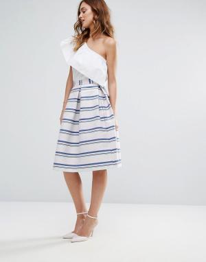Closet London Жаккардовая юбка для выпускного в блестящую полоску. Цвет: мульти