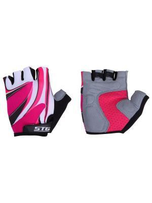 Велоперчатки STG. Цвет: красный, белый
