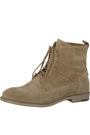 Ботинки на шнурках Tamaris. Цвет: бежевый