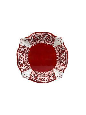 Тарелка Новогодняя Д 21 см и/уп Elff Ceramics. Цвет: красный, белый