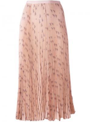 Плиссированная юбка с рисунком в виде треугольников Valentino. Цвет: розовый и фиолетовый