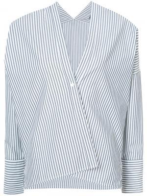 Single button striped blouse Nili Lotan. Цвет: синий