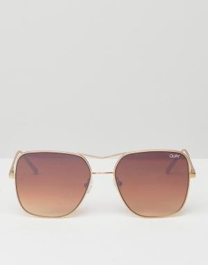Quay Australia Золотистые квадратные солнцезащитные очки-авиаторы Stop. Цвет: золотой