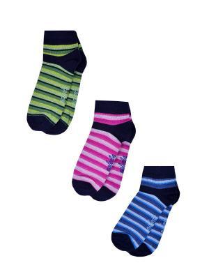 Носки женские,комплект 3шт Malerba. Цвет: синий