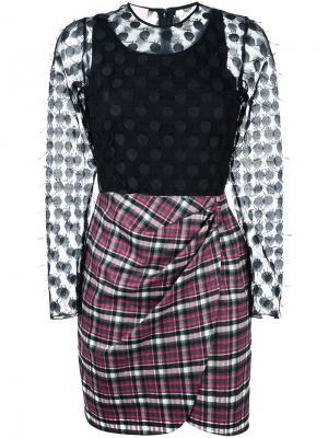Платье с клетчатой юбкой Giamba. Цвет: чёрный