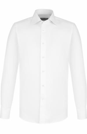Хлопковая сорочка с воротником кент Canali. Цвет: белый