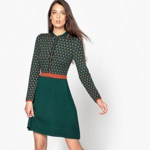 Платье трикотажное с воротником и жаккардовым рисунком MADEMOISELLE R. Цвет: зеленый