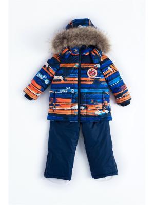 Комплект (куртка, полукомбинезон) NELS. Цвет: темно-синий, оранжевый