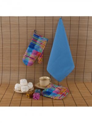 Набор текстиля для кухни: рукавичка, прихватка, полотенце Традиция. Цвет: синий, голубой, желтый, красный, розовый, сиреневый