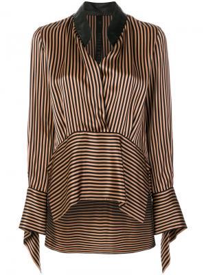 Блузка в полоску Petar Petrov. Цвет: коричневый