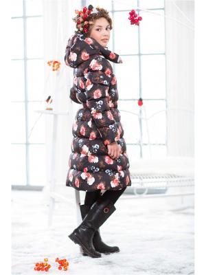 Пальто пуховое для девочки Arctiline. Цвет: черный,серый,красный