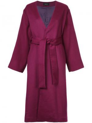 Пальто с поясом и шнуровкой G.V.G.V.. Цвет: розовый и фиолетовый