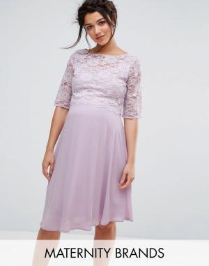 Queen Bee Свободное платье миди с кружевной отделкой. Цвет: фиолетовый