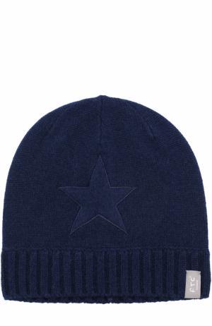Кашемировая шапка с аппликацией FTC. Цвет: темно-синий