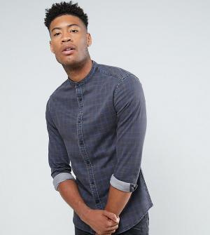 ASOS Приталенная джинсовая рубашка в клетку с воротником на пуговице T. Цвет: темно-синий