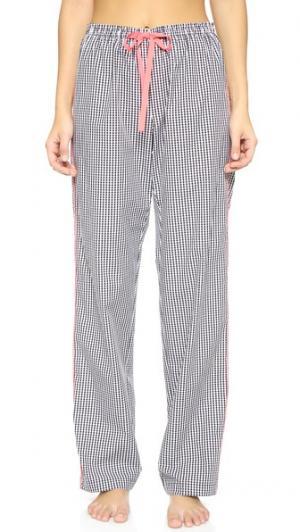Пижамные брюки с окантовкой Alessandra Mackenzie. Цвет: черный/белая клетка гингем