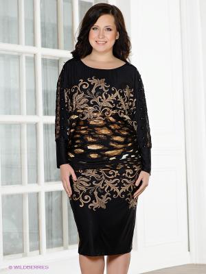 Платье Gemko plus size. Цвет: черный, бежевый