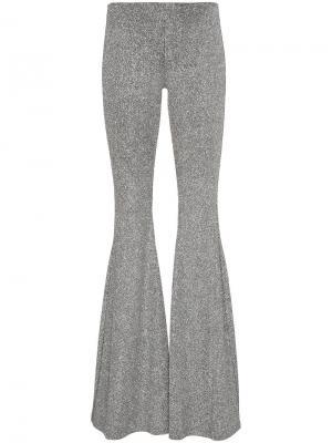 Расклешенные брюки с металлическим отблеском Filles A Papa. Цвет: металлический