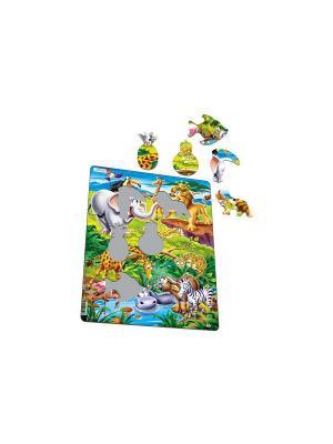 Пазл Животные сафари LARSEN AS. Цвет: белый, синий, зеленый, голубой, оранжевый, желтый