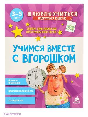 Учимся вместе с Вгорошком. Больше и меньше, противоположности, который час Издательство CLEVER. Цвет: фиолетовый, белый, голубой