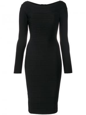 Приталенное платье миди Hervé Léger. Цвет: чёрный
