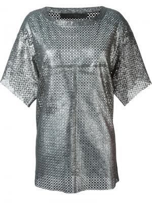 Кожаная футболка с отделкой металлик Drome. Цвет: металлический