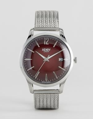 Henry London Серебристые часы с сетчатым браслетом Chancery. Цвет: серебряный