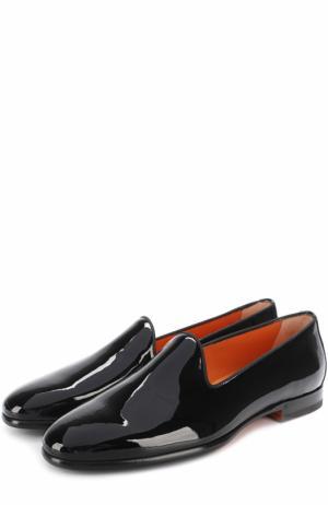 Лаковые слиперы на низком каблуке Santoni. Цвет: черный