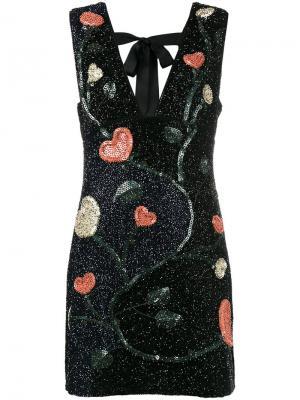 Платье с вышивкой и пайетками Ganni. Цвет: чёрный