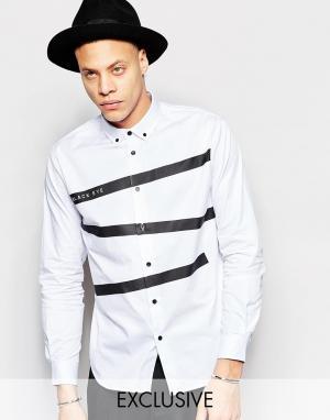 Black Eye Rags Рубашка классического кроя с принтом лент. Цвет: белый