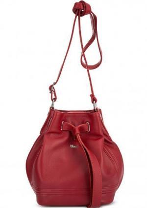 Красная кожаная сумка через плечо Bruno Rossi. Цвет: красный