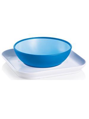 Набор тарелок для детского питания MAM. Цвет: голубой