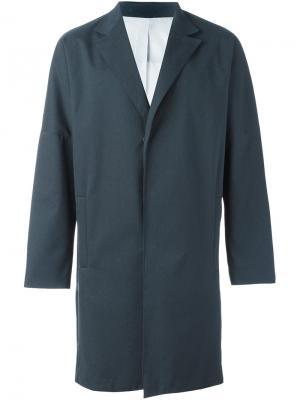 Однобортное пальто System Homme. Цвет: синий