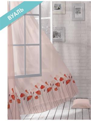 Комплект штор (2 шт.) Волшебная ночь, 150см*270см, ткань-Вуаль,  стиль-ЛОФТ, POPPY ночь. Цвет: красный, розовый