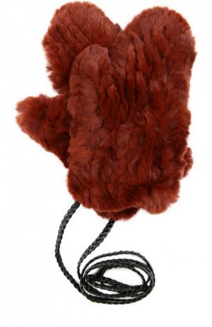 Варежки из меха кролика Yves Salomon. Цвет: бордовый
