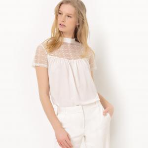 Блузка с небольшим воротником и кружевной вставкой R édition. Цвет: белый,черный
