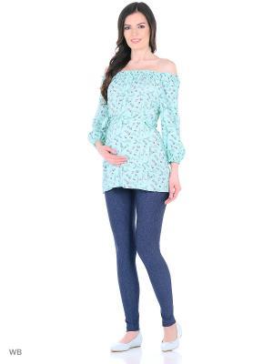 Блузка для беременных и кормления 40 недель. Цвет: темно-синий, бирюзовый