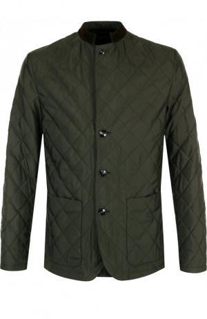 Шелковая стеганая куртка на пуговицах Kiton. Цвет: зеленый