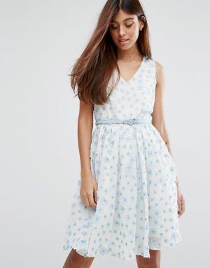 Darling Короткое приталенное платье с поясом. Цвет: синий