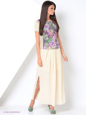 Блузка KEY FASHION. Цвет: бежевый, зеленый, серый, сиреневый