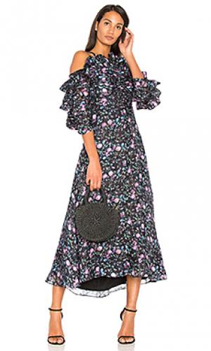 Платье из органзы ruby Rebecca Taylor. Цвет: синий