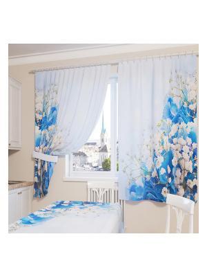 Фотошторы Голубой букет Сирень. Цвет: голубой, бежевый, белый