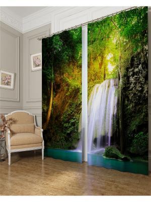 Фотошторы Водопад для двоих, Блэкаут Сирень. Цвет: зеленый, темно-зеленый, бирюзовый, темно-коричневый, серый, голубой, белый