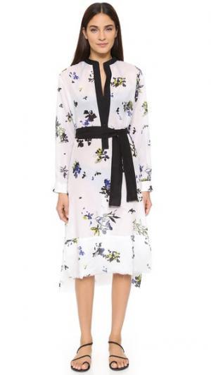 Пляжное платье-рубашка с цветочным принтом и бахромой Proenza Schouler. Цвет: белый